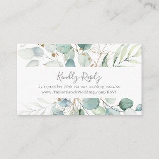Airy Greenery and Gold Leaf Wedding Website RSVP Enclosure Card
