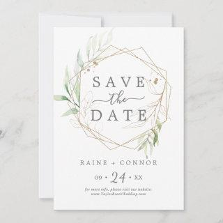 Airy Greenery Save the Date Announcement Card