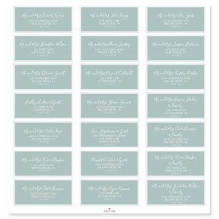 Airy Sage Green Wedding Guest Address Labels