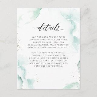Airy Turquoise, Blue and Green Watercolor Details Enclosure Card