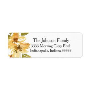 Airy Yellow Floral Wedding Return Address Label