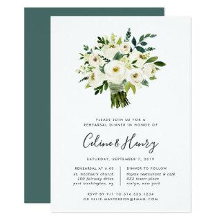 Alabaster Bouquet Rehearsal Dinner Invitation