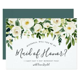 Alabaster Floral Be My Maid of Honor Card
