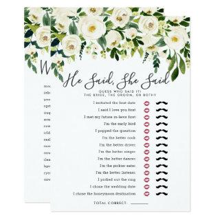 Alabaster Floral Double-Sided Bridal Shower Game Invitations