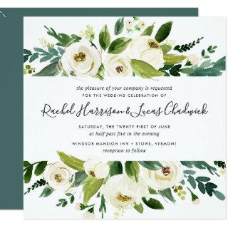 Alabaster Floral Wedding Invitations | Square