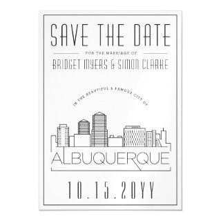 Albuquerque Wedding Stylized Skyline Save the Date Magnetic Invitations