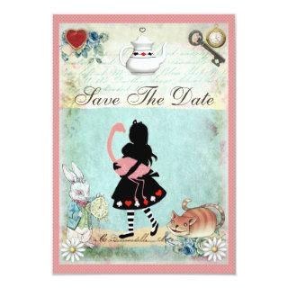Alice, Flamingo & Cat Save the Date Wedding Invitations