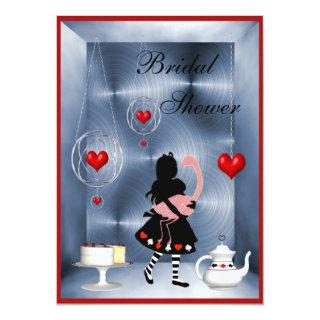 Alice & Flamingo Hearts Bridal Shower Tea Party Invitation
