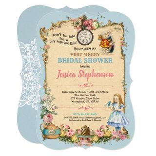 Alice in Wonderland bridal shower invitaion blue Invitations