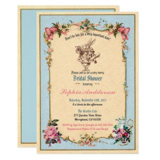 Alice in Wonderland bridal shower Invitations blue