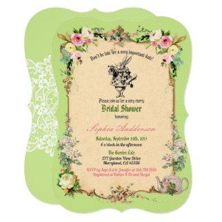 Alice in Wonderland bridal shower Invitations green