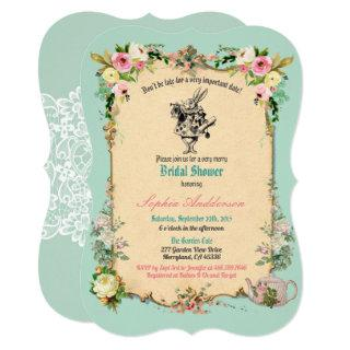 Alice in Wonderland bridal shower invitation teal