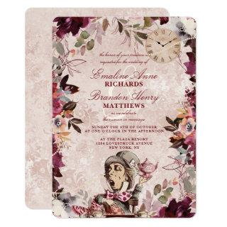 Alice in Wonderland Elegant Vintage Border Wedding Invitations