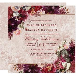 Alice in Wonderland Elegant Vintage Wedding Square Invitation