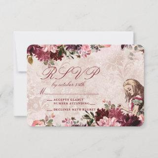 Alice in Wonderland Elegant Wedding RSVP Response