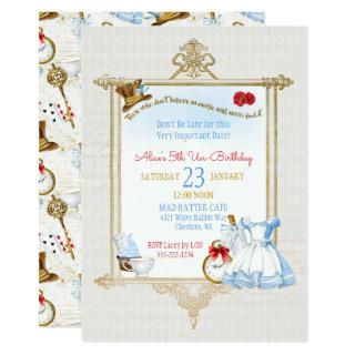 Alice in Wonderland Watercolor Invitations