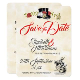 Alice in Wonderland Wedding Save The Date Invitation
