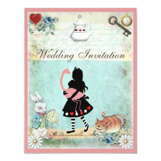 Alice, Pink Flamingo & Cheshire Cat Wedding Invitation