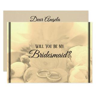 All Cream & Floral Will You Be My Bridesmaid - Invitations