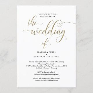 All in One w- RSVP & Registry Gold Glitter Wedding Invitation