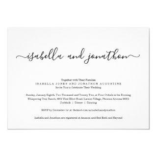 All in One Wedding Invitations with RSVP & Registry