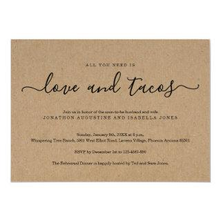 All You Need is Love and Tacos Rehearsal Dinner Invitation