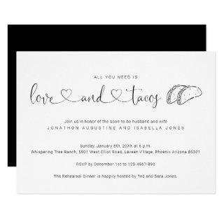 All You Need is Love and Tacos Rehearsal Dinner Invitations
