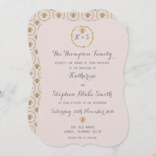 Almost Mauve Lilac Gold Foil Golden Bees Wedding