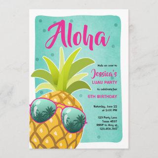 Aloha pineapple Birthday Tropical Luau Hawaii Invitations