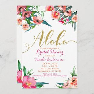 Aloha Tropical Summer Floral Bridal Shower Invitation