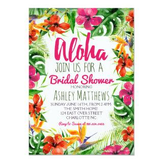 Aloha Tropical Watercolor Shower Invitations