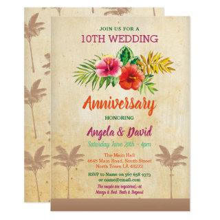 Aloha Wedding Anniversary Tropical Vintage Invite