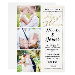 ALWAYS & FOREVER Modern 3 Photo White Gold Wedding Invitation