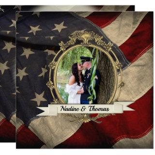 American Flag Wedding Invitation with Photograph