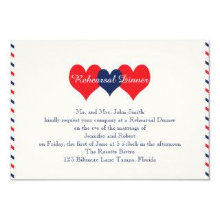 Americana Hearts Wedding Rehearsal Invitation