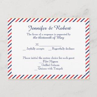 Americana Hearts Wedding RSVP Postcard