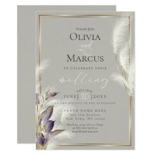 Amethyst Anthurium and Feathery Pampas Grass Invitation