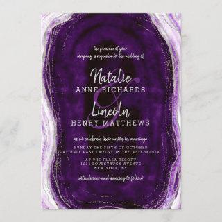 Amethyst Purple & Silver Geode Agate Slice Wedding Invitation