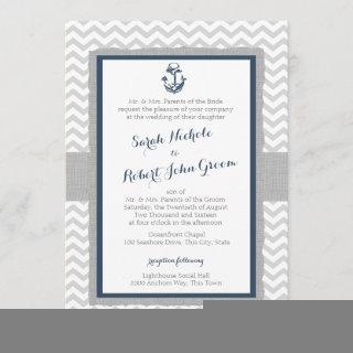 Anchor and Chevron Navy Blue and Grey Wedding Invitations