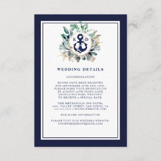 Anchor Watercolor Greenery Wreath Wedding Details Enclosure Card