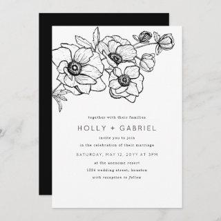 Anemone Bouquet Wedding Invitations