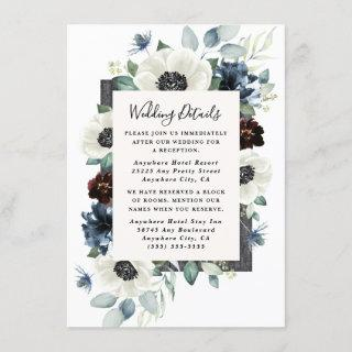 Anemone Dusty Blue Thistle Burgundy Floral Wedding Enclosure Card