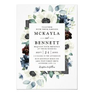 Anemone Dusty Blue Thistle Burgundy Floral Wedding Invitation