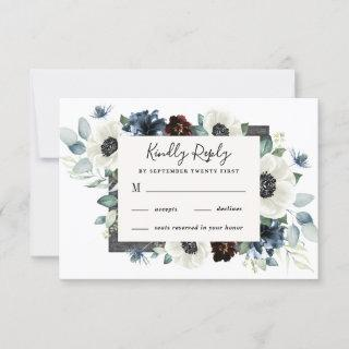 Anemone Dusty Blue Thistle Burgundy Floral Wedding RSVP Card