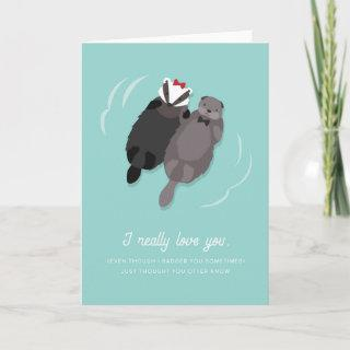 Anniversary Card for Husband Otter and Badger