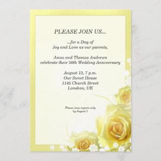 Anniversary dinner Invitations with yellow roses