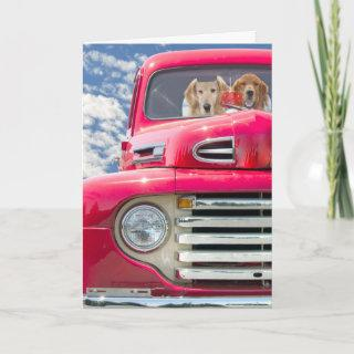 Anniversary-Golden Retrievers in vintage truck Card