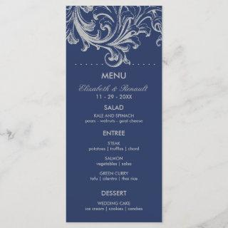 Antique Blue and Gray Floral Wedding Menu