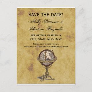 Antique Globe, Distressed BG Save the Date Announcement Postcard