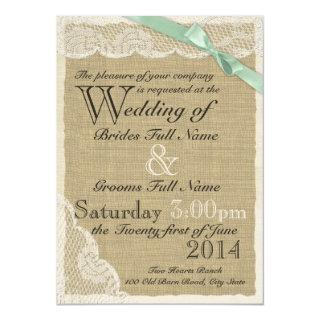 Antique Lace and Mint Bow Country Wedding Invitation